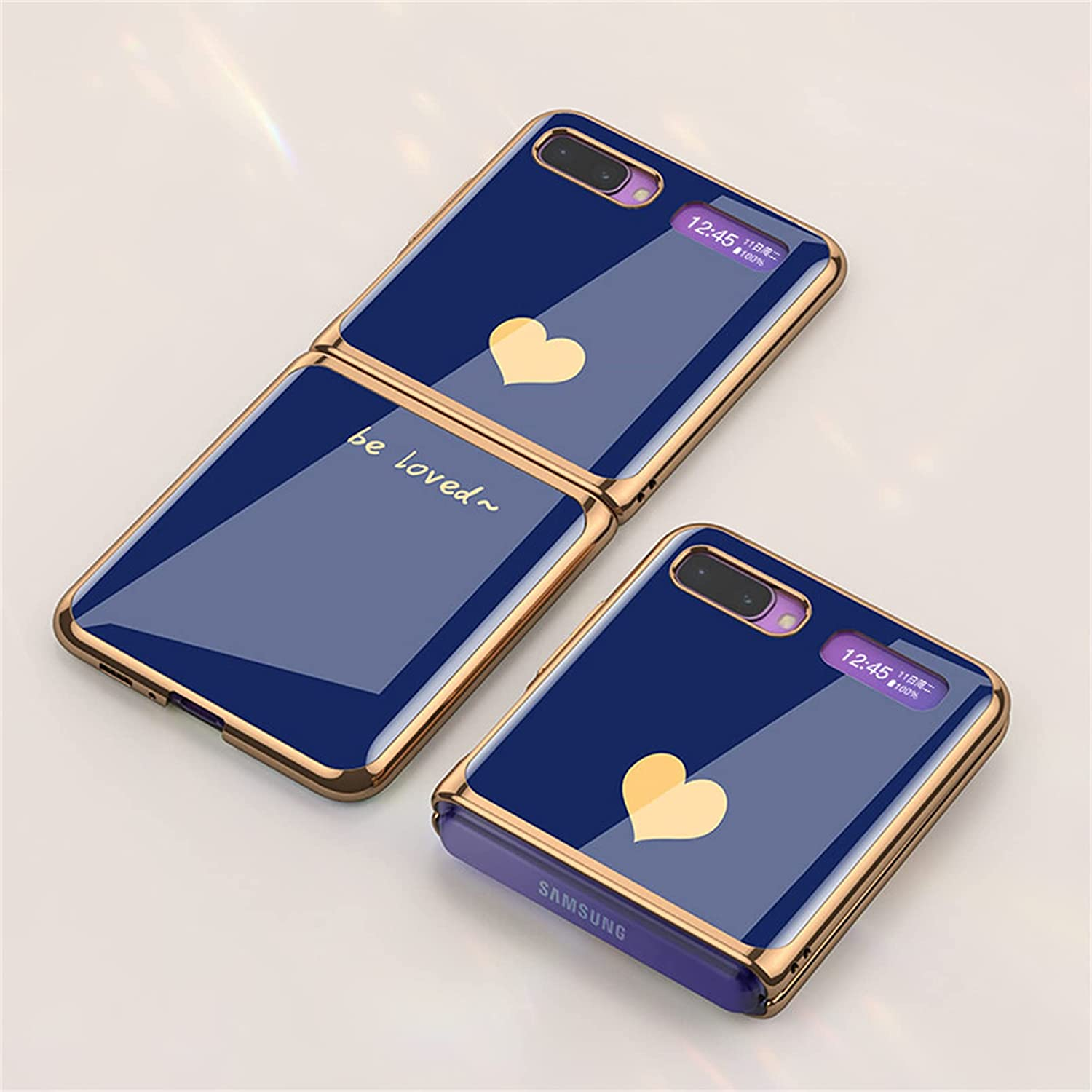 Luxury Tempered Glass Phone Protective Case for Samsung Galaxy Z Flip 5G Fashion Electroplated PC Back Cover