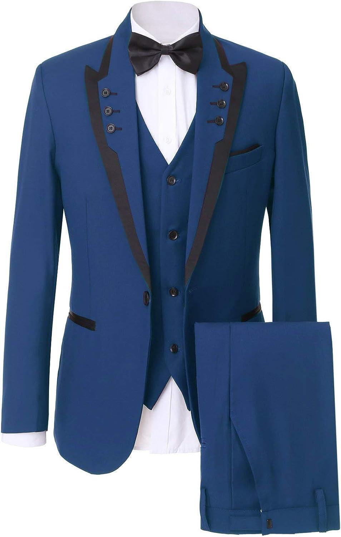 Frank Men's Slim Fit Peak Lapel Suits 3 Pieces Wedding Suits for Men Groom Tuexdos