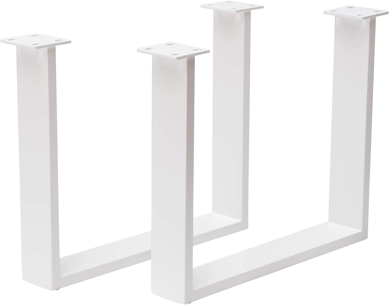 Holzwerk 1 Paar Tischuntergestell für Couchtisch Stahl wei Tischgestell Couchtischgestell CUG 304