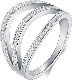 BORUO 925 纯银戒指,方晶锆石三线锆石婚戒可叠加戒指尺寸 4-12