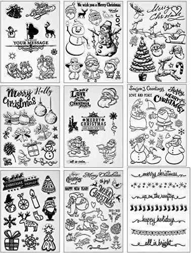 HIQE-FL 9Timbri A Forma di Babbo Natale,Timbri Natalizi,Timbro Trasparente in Silicone,Albero di Natale per Decorazione di Fabbricazione di Carta e Scrapbooking Fai-da-Te (B)