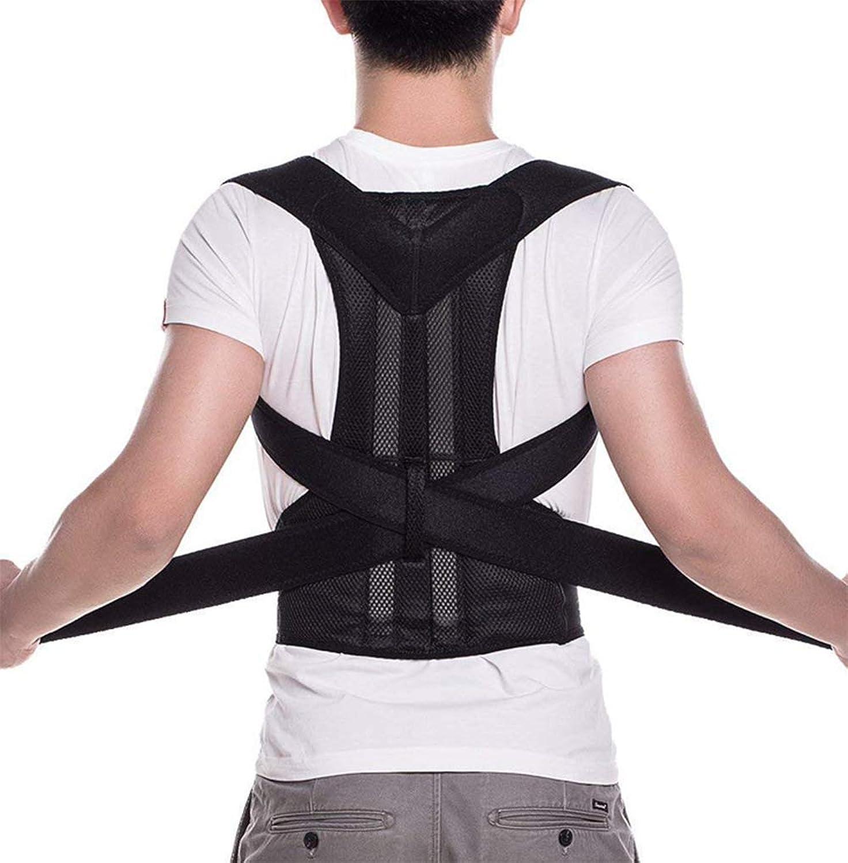 Adjustable Posture Corrector Brace Back Support Belt  Cotton Inner Layer, Waist Length Fits 27.549.2 , Black,S