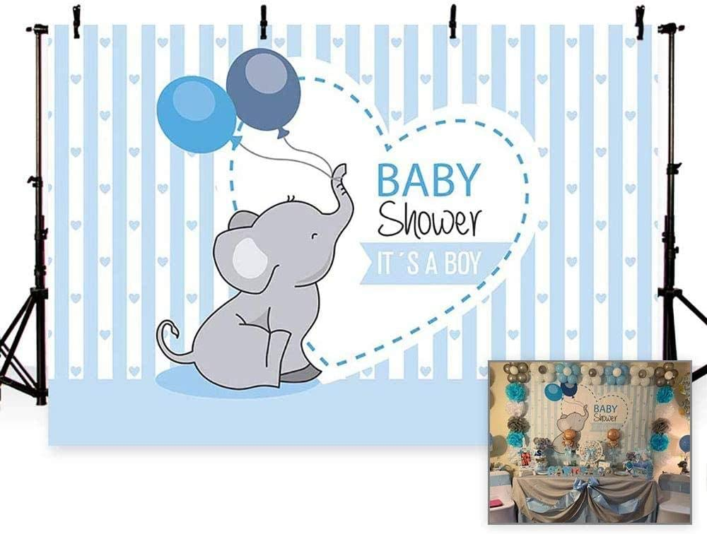 New Photo Background Cute Blue Stripe Prince Boy Baby Shower Balloon Elephant Love Party Backdrops Banner for Photography 7x5ft