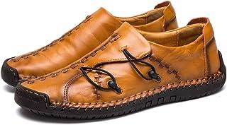 Asifn Hombre Cuero Mocasines Casuales Ligeros Conducción Barco Mocasines Zapatos Británicos Caballeros Comercio Trabajo Zapatillas