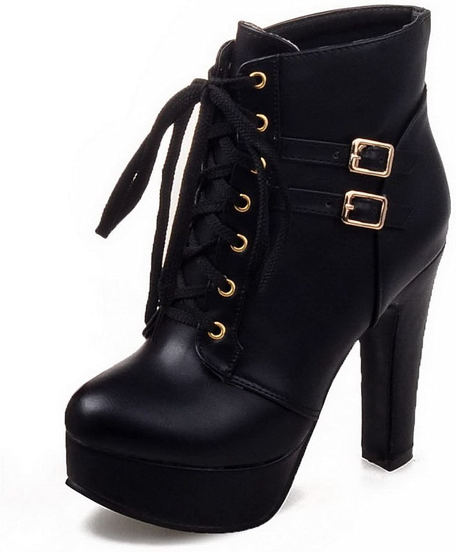 BalaMasa Womens Platform Wheeled Heel shoes Formal Imitated Leather Boots