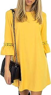 YidartonAitos A Linie Kleider Damen 3/4 Arm Sommerkleid Tunika Elegante Minikleider Strandkleider Partykleid Schick Causal Lose