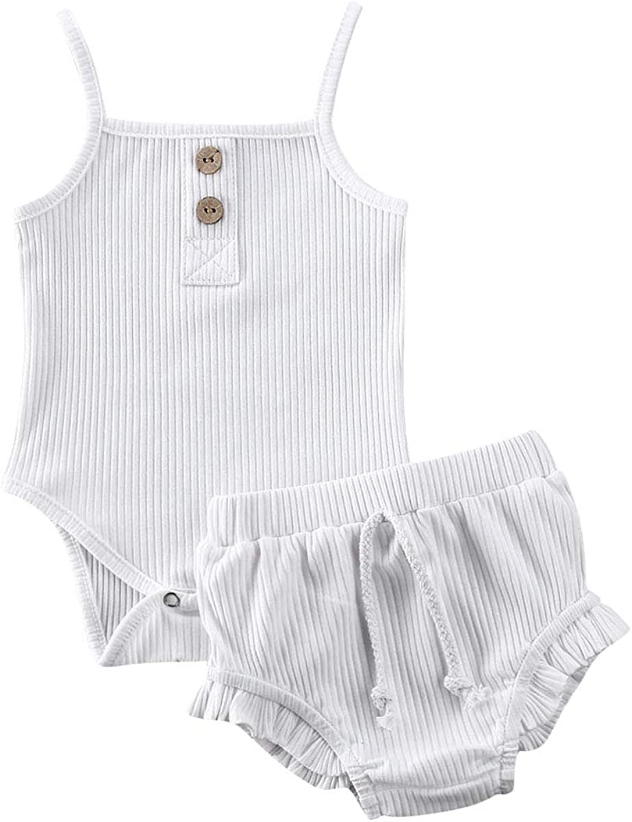 Infant Baby Girls Summer 2021 Knit Outfits Button Ranking TOP19 Halter Ruffl Romper