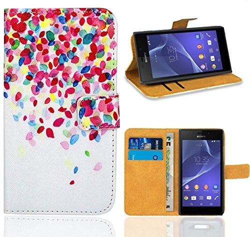 Sony Xperia M2 Handy Tasche, FoneExpert Wallet Hülle Flip Cover Hüllen Etui Ledertasche Lederhülle Premium Schutzhülle für Sony Xperia M2