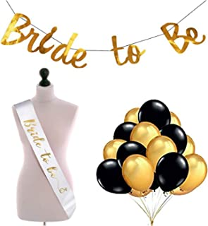 Party Propz Bride to Be 27 Pcs Combo- 1 Pc Golden Bride to Be Banner + 25 Pcs Black and Gold Colour Balloons + 1 Pc Bride ...