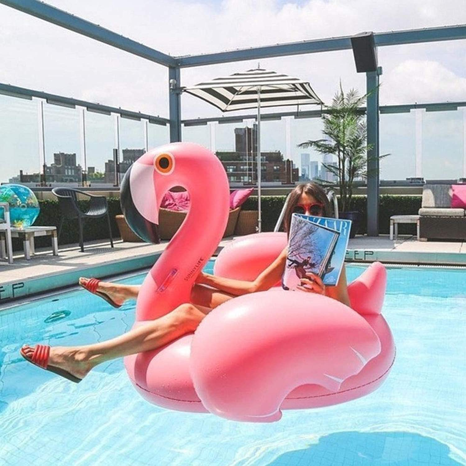 Comfot Flamingo Swimming Pool Float Animal Inflatable Float for Pool Summer Party Beach Lounge