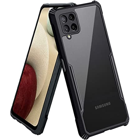 FOSO(™) Back Case Cover for Samsung Galaxy M12 / F12 / A12 Slim Crystal Clear Camera Protection Airbag PC TPU Bumper Back Cover for Galaxy M12 / F12 / A12 - (Black)