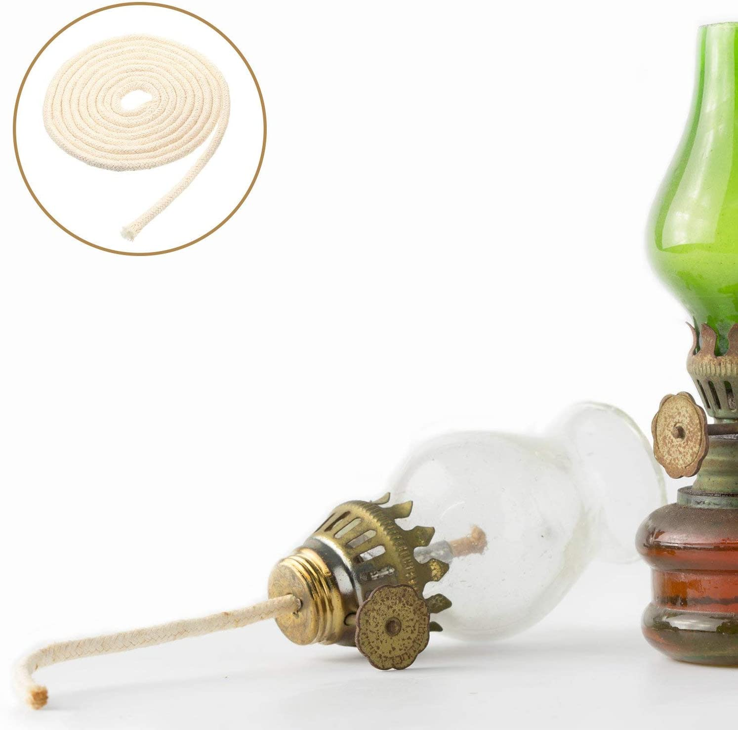 de algod/ón plano de aceite Rollo de mecha para l/ámpara de queroseno 1,8/m por rollo 1//2 Inch Width marr/ón