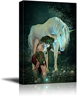 wall26 - Canvas Prints Wall Art - A Girl and a Unicorn Watching Fireflies at a Pond | Modern Wall Decor/Home Decoration Stretched Gallery Canvas Wrap Giclee Print. Ready to Hang -24