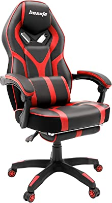 Gaming Chair Video Game Chair, Racing Recliner E-Sports Gamer Chair, High Back Office Desk Chair Swivel Computer Chair with with Footrest Headrest Lumbar Support Thicker Cushion Home Chair