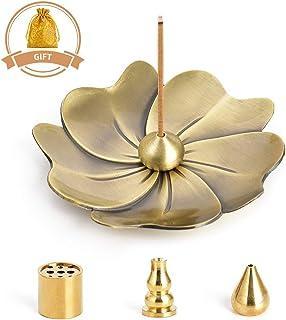 HOKPA Sakura Flower Incense Holder, 5PCS Bronze Incense Burner Holder with Silk Pouch, Two Styles Drop-shape, Cylinder Multihole and Gourd-shape Ash Catcher Yoga Room Living Room Bedroom Home Fragranc