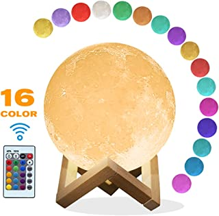 Mydethun Moon Lamp 16 Colors LED 3D Print Moon Light with Stand Remote Touch Control and USB Rechargeable Night Lights Gift for Women Baby Kids Lover Birthday Party (3.9 Inch with Wood Base)