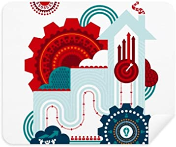DIYthinker Contrast-Colour Gear Clock House Illustration Phone Screen ...