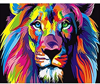 Paint by Numbers for Adults | DIY Art Kit with Acrylic Paints, Brushes, and Canvas for Abstract Animal Art. Painting and Crafts for Beginners and Kids 16x20 (Lion)