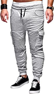 af9bea1bfda Fensajomon Men s Ruched Multi-Pockets Gym Workout Hip Hop Casual Active  Sweatpants Jogger Pants Trousers
