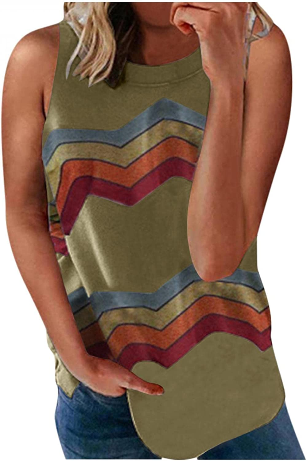 Gerichy Tank Tops for Women Casual, Fashion Womens Summer Loose Fit Sleeveless Tank Tees Shirts Blouses Vest Tunic Tops