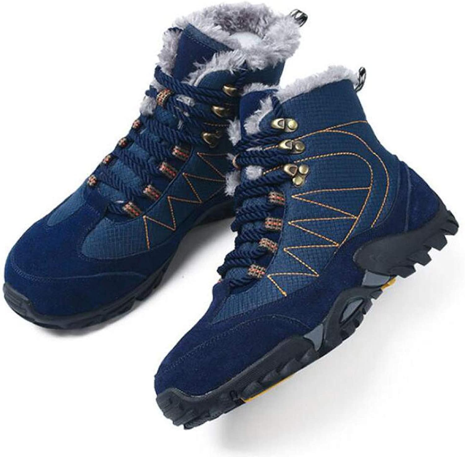 Winter Men's Snow Boots Suede Casual Non Slip shoes Fur Keep Warm Hiking Ankle Booties Large Size:5-12.5