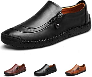 Slip-On Shoes, Men's Leather Hand Stitching Zipper Non-Slip Oxford Casual Leather Loafers Driving Walking Shoes