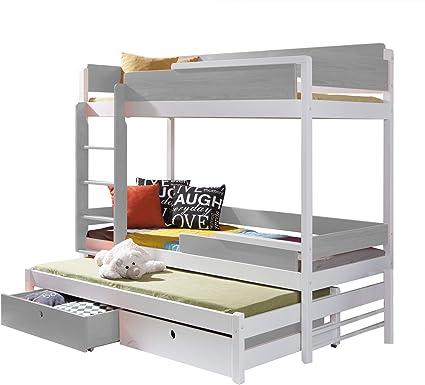 Triple Bunk Bed Nature 3 Modern Trundle High Sleeper Mattress Drawers Ladder 3 Children Pine Wood Left Hand Side Shorter Size Amazon Co Uk Home Kitchen