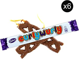 Cadbury Curly Wurly Chocolate Chewy Bars | Total 6 bars of British Chocolate Candy