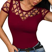 Sunhusing Ladies Sexy Hollow Hole Round Neck Short Sleeve Shiny Beaded Embellished Solid Color T-Shirt Top
