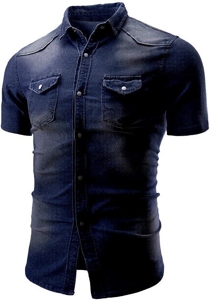 VEKDONE Men's Button Down Shirts Short Sleeve Denim Work Shirt Slim Fit Dress Shirts for Men Plus Size