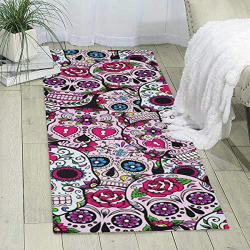 Alfombra de día de los muertos con calaveras de azúcar de 182 x 61 cm, alfombra para niños