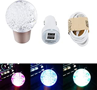 AllureEyes Air Bubble Crystal Disco Ball Shape Touch Sensor RGB LED Illuminated Auto Car Stick Shift Knob Lever Gear Shifter - Touch Sensor LED Color Changing - with Charger and Data Cable
