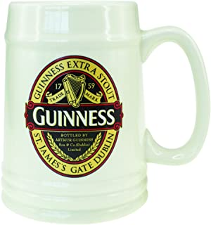 Guinness Classic Ceramic Beer Tankard with Handle Extra Stout Label