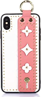 OEMDIY Case for iPhone Xs MAX Leather Silicone Soft Phone Case Back Cover with Wrist Strap Stand for Apple iPhone Xs Max Cases 6.5 inch (White Pink)