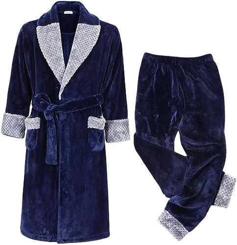 PAJAMASX Un Pyjama en Flanelle pour Hommes en Hiver, Plus Un Peignoir en Molleton Corail épais, Plus Un Pantalon, Un Costume De Service à Domicile Chaud, L165-170Cm55-65Kg