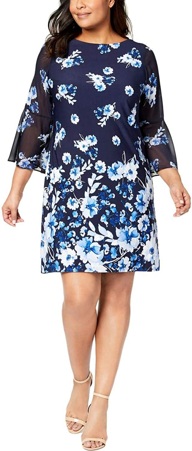 JessicaHoward Womens Plus Bell Sleeves Above Knee Mini Special Occasion Dress