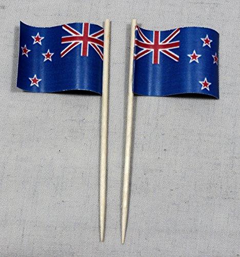 Buddel-Bini Party-Picker Flagge Neuseeland Papierfähnchen in Spitzenqualität 50 Stück Beutel