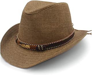 Panama Sun Hat Raffia Hat Summer Women's Jazz Straw Hat Leather Braided Metal Feather Decorated Beach Men's` TuanTuan (Color : Coffee, Size : 56-58CM)