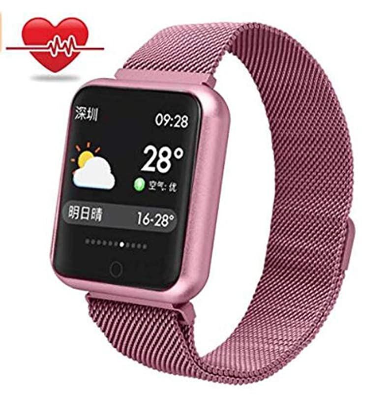 Smart Watch Womens Bracelet Band Fitness Tracker Activity Heart Rate Monitor Blood Pressure Monitor Stainless Steel Waterproof Smart Wristwatch for Men Kids iOS Android Women Sports Watch (Rose Gold) cykwnmta951143