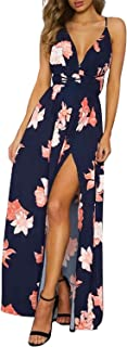Missy Chilli Women's Party Dress Sexy Flowers V-Neck Backless Maxi Long Strappy Dress Evening Dress Beach Dress Blue