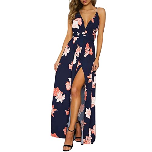 943836b11ef Simplee Women's Deep V Neck Backless Spaghetti Strap Floral Casual Maxi  Dress