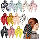 12 Pcs Hair Scarf Hair Scrunchies Chiffon Floral Scrunchie Hair Bands Ponytail Holder Scrunchy Ties 2 in 1 Vintage Accessories for Women Girls (Color1)