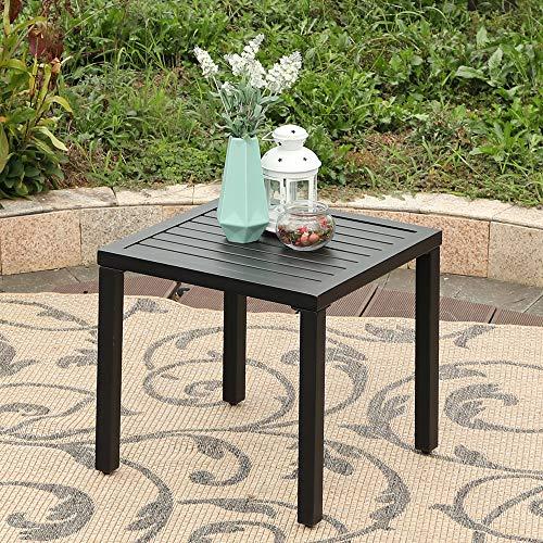 MFSTUDIO Black Patio Table Metal Square Coffee Tea Bistro Table Small Side End Adjustable Outdoor Furniture Table,Black