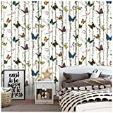 Peel and Stick Wood Wallpaper Birch Tree Butterfly Flower 17.7' x 9.8ft Multi-Color Wallpaper Self Adhesive Vinyl Wall Decor