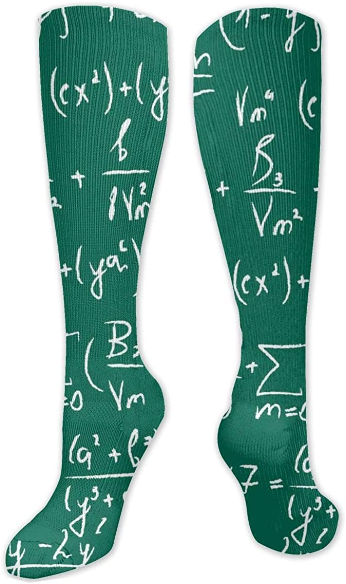 Mathematical Equation Green Knee High Socks Leg Warmer Dresses Long Boot Stockings For Womens Cosplay Daily Wear
