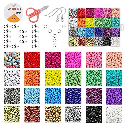 UniHom Perlen zum Auffädeln, Mini Glasperlen 2mm Rocailles Perlen Set mit Buchstabenperlen,DIY Perlen für Armbänder Schmuck Ringe Ketten,24 Farben Erwachsene Kinder Perlen Bastelset Beads und Zubehör