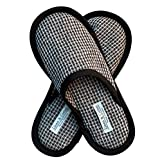 Linen & Cotton Zapatillas Pantuflas de Estar por Casa TIGO para Mujer/Hombre (EUR 41-42, Negro)