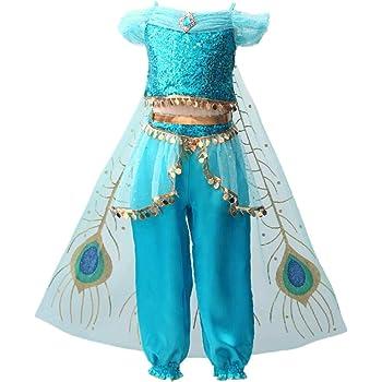 IWFREE Disfraz Princesa Jasmine Niña Aladdin Disfraz Tops ...