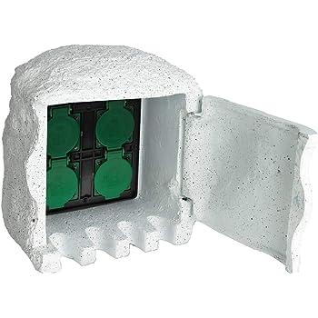 Unidad de Enchufe de Jardín 4 Tomas de corriente Resina Impermeable Blanca: Amazon.es: Bricolaje y herramientas