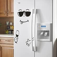 Aotmiki Cute Happy Delicious Face Kitchen Refrigerator Art Wall Stickers Decal Home Fridge Decor (Black 2, 50cm x 72cm)